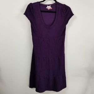 Dereck heart shortsleeve sweater dress L purple